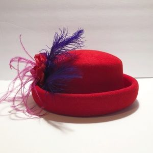Vintage Red Hat Society 100% Wool Fashion Hat